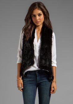 HAUTE HIPPIE Skinny Bunny Vest in Black - Jackets & Coats