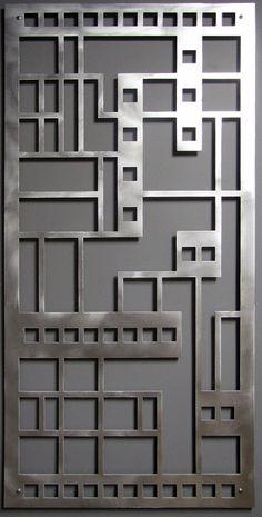Large Modern Geometric Art: Prairie Panel No. 1 Pair in Brushed Aluminum Metal Wall Sculpture