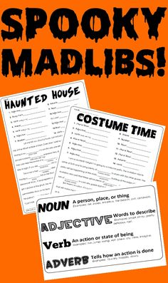 Have an (ADJECTIVE) time scaring the (NOUN) out of your friends with this pack of spooky Mad Libs. Here is a fun way to celebrate the fright and fun of late October as well as sneaking in some practice with recognizing and using the parts of speech. Classroom Halloween Party, Halloween Activities, Holiday Activities, Classroom Activities, Senior Activities, 6th Grade Ela, Mad Libs, Parts Of Speech, School Parties