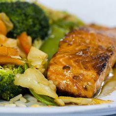 Ørret med soyasaus og honning Broccoli, Pork, Fish, Meat, Chicken, Dinner, Vegetables, Recipes, Drink