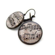 Music Earrings Sheet Music Earrings Music Jewelry by silverthaw, $16.00