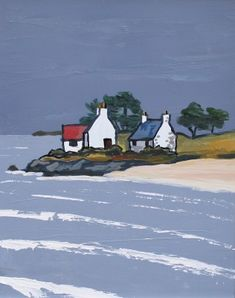 Cottages by the North Coast by British Contemporary Artist David BARNES Beach Huts Art, Beach Art, Landscape Art, Landscape Paintings, Farmhouse Paintings, Castle Painting, English Artists, Building Art, North Coast
