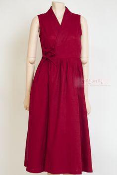 [즉시배송] 생활한복 '가온' 철릭원피스 Red (Long)