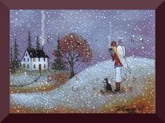 A Watchful Eye  A small Angel Snow Border Collie Early Winter Print by Deborah Gregg