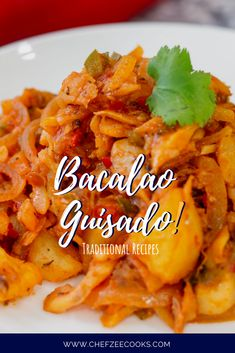 Bacalao Guisado con Papas Bacalao Guisado is an amazing traditional Latin Dish made with delicious cod fish and sauce. This amazing meatless dinner recipe is exactly what you've been looking for! Puerto Rican Recipes, Portuguese Recipes, Mexican Food Recipes, Ethnic Recipes, Cod Fish Recipes, Seafood Recipes, Cooking Recipes, Comida Boricua, Boricua Recipes
