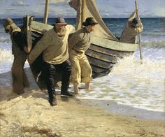 Oscar Björck - Launching the boat. Skagen Oil on canvas. Painted in 63 x inches, 160 x cm. Part of the collection of Skagens Museum, Skagen, Denmark. Skagen, Oeuvre D'art, Fishing Boats, Art Google, Strand, Les Oeuvres, Light Colors, Art Museum, Oil On Canvas