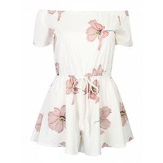 Choies White Off Shoulder Floral Tie Waist Romper Playsuit