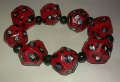 Red/teal animal print chunky stretch bracelet by AmberGlamourLand, $20.00
