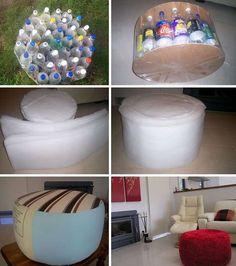 Pouf en bouteilles recyclés