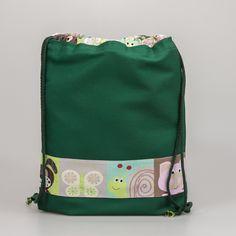 Worek NOŚ MNIE XL (zielony w kolorowe zwierzątka) - nosmnie - Worki szkolne i przedszkolne