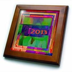 "2013, Abstract, Multi Colored - 8x8 Framed Tile by 3dRose. $22.99. Inset high gloss 6"" x 6"" ceramic tile.. Solid wood frame. Cherry Finish. Keyhole in the back of frame allows for easy hanging.. Dimensions: 8"" H x 8"" W x 1/2"" D. 2013, Abstract, Multi Colored Framed Tile is 8"" x 8"" with a 6"" x 6"" high gloss inset ceramic tile, surrounded by a solid wood frame with pre-drilled keyhole for easy wall mounting.. Save 15%!"