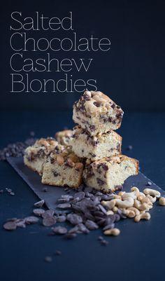 Salted Chocolate Cashew Blondies