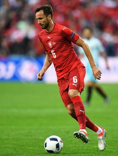 Tomas Sivok of Czech Republic with the ball during the UEFA EURO 2016 Group D match between Czech Republic and Turkey at Stade Bollaert-Delelis on June 21, 2016 in Lens, France.