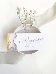 Gold Name Card // gold leaf // place card // place setting // table setting // personalised Wedding Table Name Cards, Wedding Stationery, Wedding Invitations, Place Names, Save The Date Cards, Wedding Ceremony, Place Card Holders, Handmade Gifts, Card Card