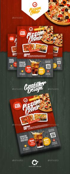 Buy Restaurant Flyer Templates by grafilker on GraphicRiver. Restaurant Flyer Templates Fully layered INDD Fully layered PSD 300 Dpi, CMYK IDML format open Indesign or later . Restaurant Advertising, Restaurant Poster, Restaurant Design, Pizza Restaurant, Pizza Flyer, Menu Flyer, Menue Design, Food Menu Design, Promo Flyer