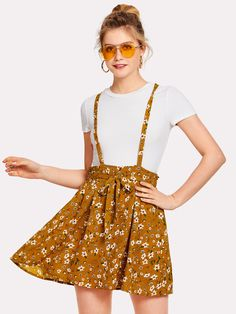 Flower Print Self Tie Waist Crisscross Pinafore Dress -SheIn(Sheinside)