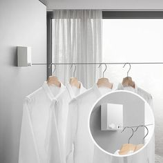 Telescopic Invisible Clothesline 😍 - This retractable wall mounted clothesline hanger is the coolest space-saving solution for your clot - Clothes Drying Racks, Clothes Dryer, Hanging Clothes, Clothes Line, Drying Rack Laundry, Diy Clothes, Home Decor Hooks, Room Decor, Laundry Room Design