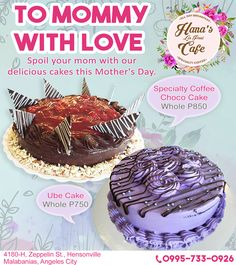"""""""What Mom Really Wants for Mother's Day: Someone Else To Pay For Dinner!  MAY 13, 2018  ***Specialty Coffee, Choco Cake Whole P850.0 ***Ube Cake Whole P750.0  Make your reservations now: 0995-733-0926  #MothersDay2018 #AngelesCity #Pampanga"""""""