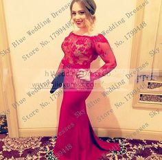 Scoop plus size long sleeve prom dresses red lace Mermaid Evening Party Gowns See Through Formal Mother Of The Bride Dresses