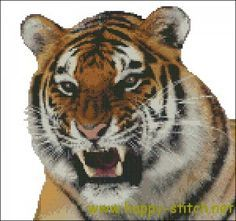 Growling tiger cross stitch chart » Happy Stitch