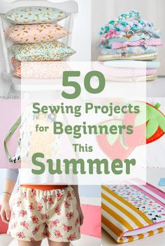 Get sewing this summer with this list of 50 sewing projects to keep you busy all summer! Sewing Machine Projects, Sewing Projects For Beginners, Easy Sewing Projects, Sowing For Beginners, Beginer Sewing Projects, Diy Summer Projects, Simple Sewing Patterns, Beginner Sewing Patterns, Kids Clothes Patterns