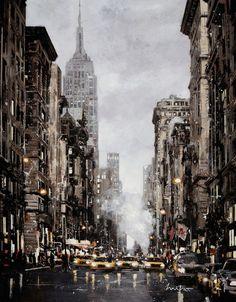 """""""New-York après la pluie"""" - Painting, 114x146 cm ©2014 par Mitro - Peinture, Autre"""