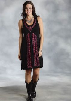 Stetson® Black Crochet & Embroidered Sleeveless Western Dress