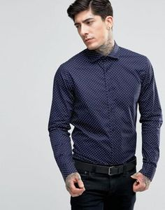 Scotch & Soda Shirt With All Over Spot With Cut Away Collar In Slim Fit With Stretch In Navy