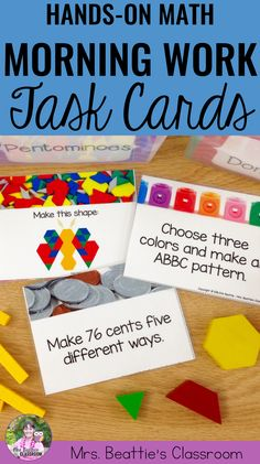Are you a classroom teacher looking for quality morning work activities for your students? These fun math morning work task cards are kid-tested and perfect for morning work, math warm-ups or early finishers! #math #taskcards #morningwork #handson #teaching
