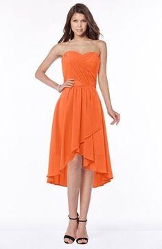 Tangerine Mature A-line Strapless Chiffon Knee Length Ruching Bridesmaid Dresses