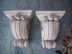 PAIR PRETTY  CURTAIN ROD SCONCES WITH ROSES  FRENCH~VINTAGE STYLE~SHABBY #Cottage