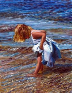 """Blue Pinafore"" A young girl in a white dress wades in the cool water of a nearby lake in New England. Painting by Marie Witte"