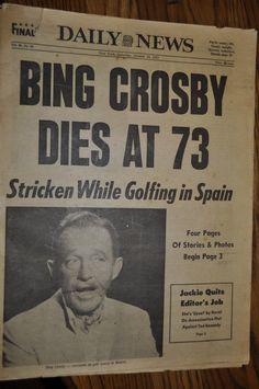 #DailyNews - Bing Crosby Dies At 73