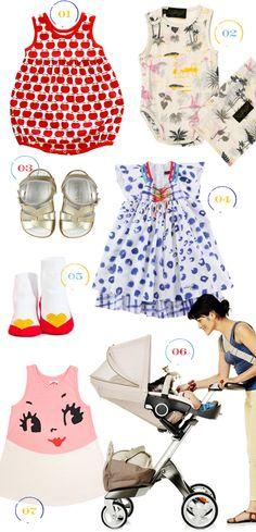 Love these little dresses for Ree {1. Kit+Lili apple sunsuit, 2. Sugar Milk flamingo onesie, 3. Saltwater sandals {via Cup of Jo}, 4. Catimini dress, 5. Trumpette socks, 6. Stokke summer explory kit, 7. Madre Perla dress,}