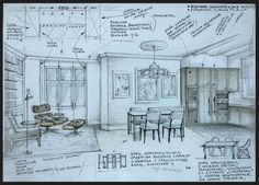 Interior illustration with some notes (by Magdalena Sobula)