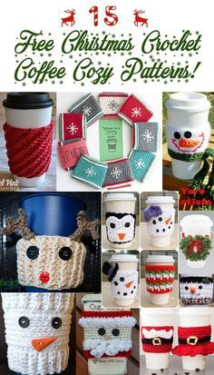 Crochet Coffee Cozy Pattern Round Up Christmas crochet coffee cozy pattern round up. All free paterns!Christmas crochet coffee cozy pattern round up. All free paterns! Crochet Christmas Cozy, Crochet Coffee Cozy, Crochet Cozy, Christmas Crochet Patterns, Crochet Gifts, Cozy Christmas, Coffee Cup Cozy, Crochet Ideas, Crochet Geek