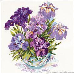 Kit point de croix  - Iris dans un vase - RIOLIS