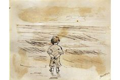 This image was drawn on the back of Edward Hopper's third grade report card dated October 23, 1891, when Hopper was nine years old. Edward Hopper (1882-1967), Little Boy Looking at the Sea, n.d., ink on paper, 4.5 x 3.5 in. The Arthayer R. Sanborn Hopper Collection Trust.