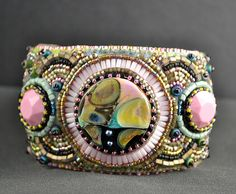 Bead Embroidered Cuff b Front