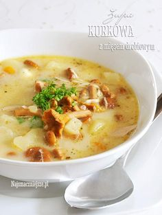Garlic Roasted Potatoes, Soup Recipes, Healthy Recipes, Polish Recipes, Polish Food, Mushroom Recipes, Soups And Stews, Food And Drink, Healthy Eating