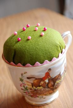 tea cup pin cushion - I've made a few of these!