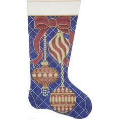 Item# Red & Gold Ornaments on Navy Stocking Handpainted needlepoint design on 13 mesh cotton canvas. Needlepoint Designs, Needlepoint Kits, Needlepoint Canvases, Gold Ornaments Design, Cross Stitch Stocking, Needlepoint Christmas Stockings, Diy Embroidery, Red Gold, Cotton Canvas