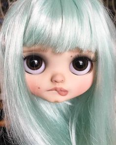 Quick picture of sweet little new girl with her eyes open. Ooak Dolls, Blythe Dolls, Gothic Dolls, Creepy Dolls, Little Doll, Custom Dolls, Ball Jointed Dolls, Doll Face, Big Eyes