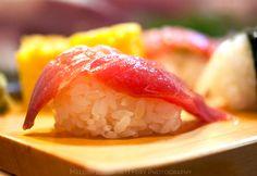 Tai red snapper nigiri at Daiwa Sushi Restaurant at Tsukiji Market in Tokyo Japan by Melody Fury Photography. Food, Drink, Restaurant Photographer and Writer in Vancouver BC and Austin TX