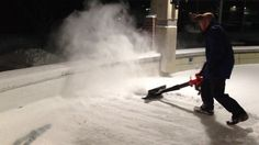 Backyard Ice Rink Cleaning Snow with Air Jet Shovel Leaf Blower Snow Removal Backyard Ice Rink, Leaf Blower, Shovel, Ice Skating, Jet, How To Remove, Snow, Cleaning, Watch