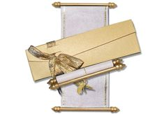 Mini Scroll invitations with yellow and gold theme. Scroll Wedding Invitations, Scroll Invitation, Menu Cards, Table Cards, Money Envelopes, Sweet Box, Gold Ribbons, Thank You Cards, Are You Happy