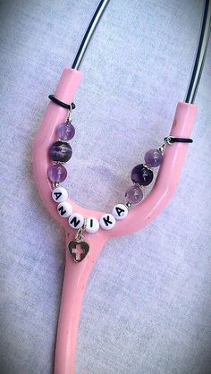 PERSONALIZED Amethyst STETHOSCOPE CHARM by ColorsOfFaithJewelry, $12.50