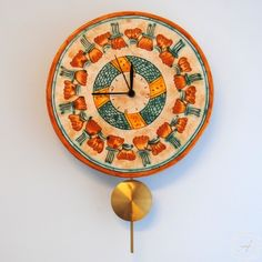 Italian  ceramics round  wall clock  with pendulum