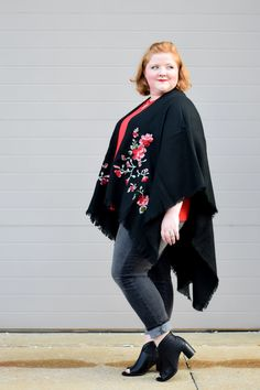 7c43fee7674 Two Ways to Wear a Ruana Wrap this Fall  featuring the Embroidered Floral  Ruana from Avenue plus sizes styled two ways  dressed up and dressed down.