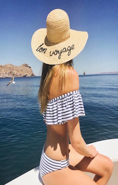 Sailing on the Sea of Cortez in a striped Splendid off the shoulder bikini and Hat Attack hat Bathing Suit Top, Baja California, Bikini Beach, Bikinis, Swimwear, Sailing, Casual Outfits, Clothes For Women, How To Wear